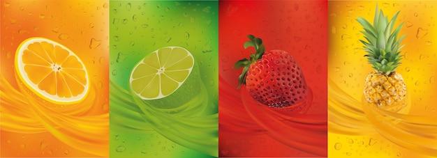 Jus multi vitaminé sucré, ananas, fraise, citron vert, orange avec éclaboussures de liquide et goutte de jus.