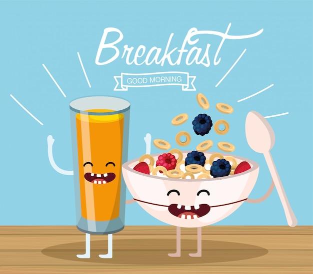 Jus d'orange heureux et une tasse de céréales et une cuillère
