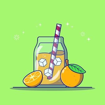 Jus d'orange rafraîchissant dans un bocal en verre avec une tranche d'orange et une icône plate de paille rayée illustration vectorielle isolée.