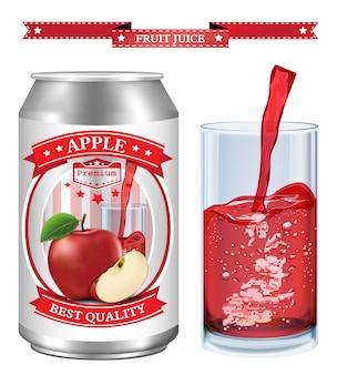 Jus de pomme label vecteur visuel, idéal pour jus de fruits
