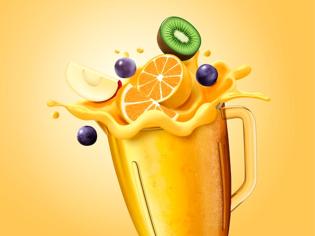 Jus sain et fruits tranchés dans une tasse en verre, illustration 3d