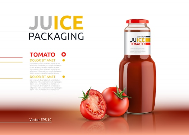 Jus de tomate emballage vecteur réaliste mock up.