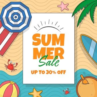 Jusqu'à 30% de réduction pour la conception d'affiches de vente d'été avec des éléments de plage.