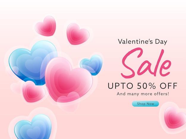 Jusqu'à 50% de réduction sur la conception d'affiche de vente de la saint-valentin avec des coeurs brillants.