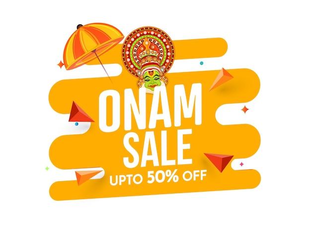 Jusqu'à 50 % de réduction pour la conception d'affiches de vente d'onam avec le visage de danseur kathakali, illustration de parapluie maveli.
