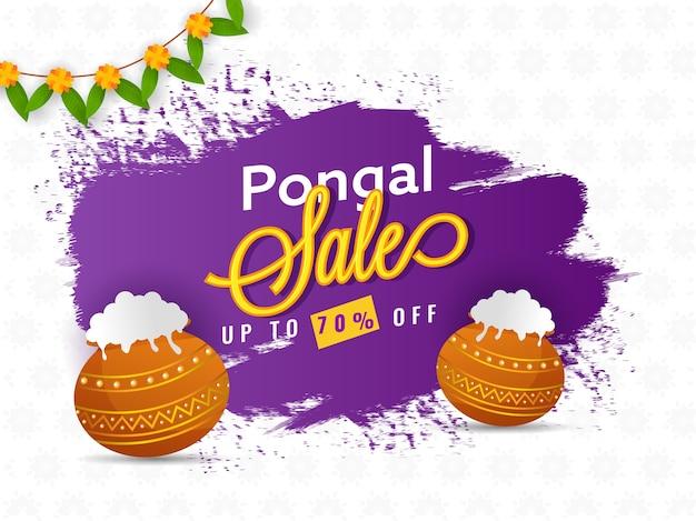 Jusqu'à 70% de réduction sur la conception d'affiche de vente pongal avec des pots de boue traditionnels