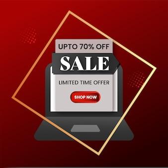 Jusqu'à 70% de réduction sur la conception d'affiches à vendre avec illustration d'ordinateur portable en couleur blanche.