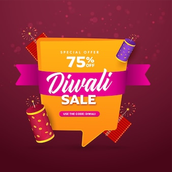 Jusqu'à 75% de réduction pour la conception d'affiches de vente diwali avec des pétards 3d de couleur jaune et rose foncé.