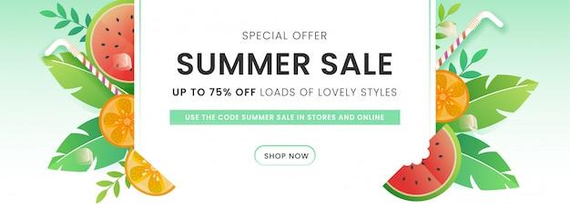 Jusqu'à 75% de réduction pour l'en-tête de vente d'été ou la conception de bannière décorée de pastèque, de citron, de pailles et de feuilles vertes.