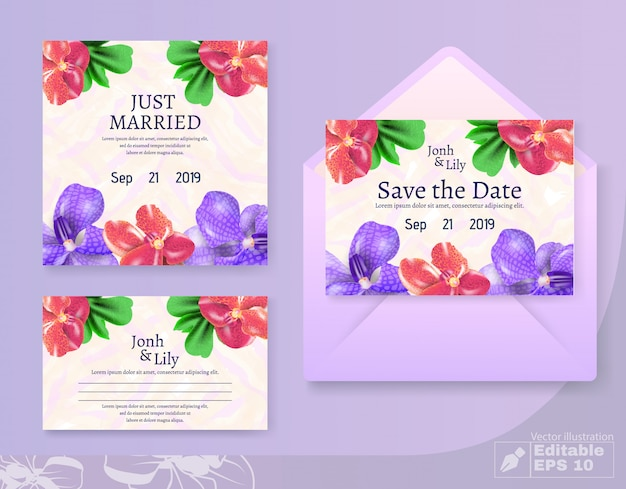 Just married et save date set de cartes et enveloppes