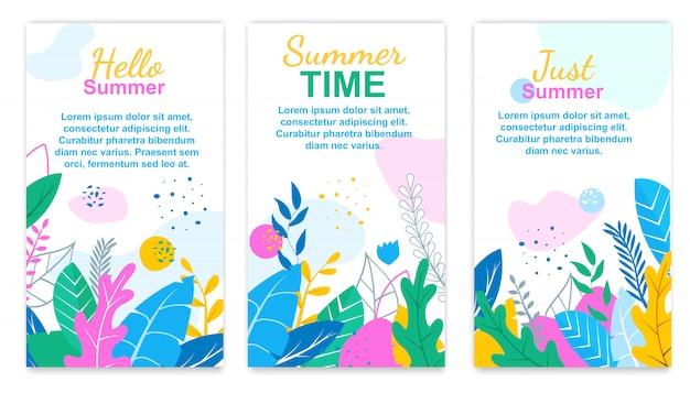 Juste l'heure d'été. bonjour summer floral banner set