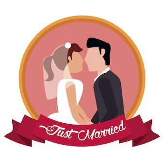Juste marié couple ensemble étiquette