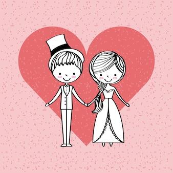 Juste marié heureux