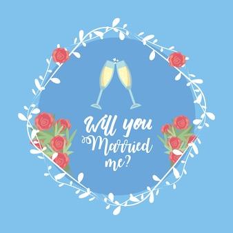 Juste marié avec le verre de vin et la décoration de la branche