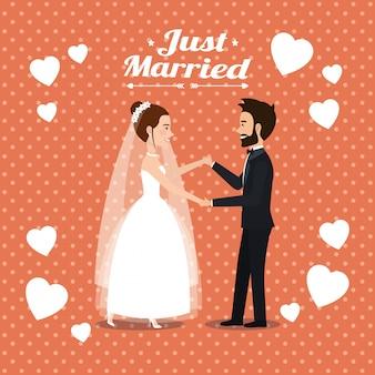 Juste mariés quelques personnages d'avatars dansant