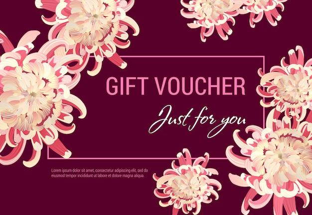 Juste pour vous un certificat-cadeau avec des fleurs roses et un cadre sur fond vineux.
