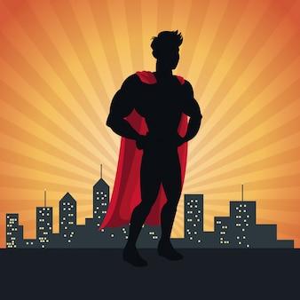 Justice action super-héros posant devant le paysage urbain