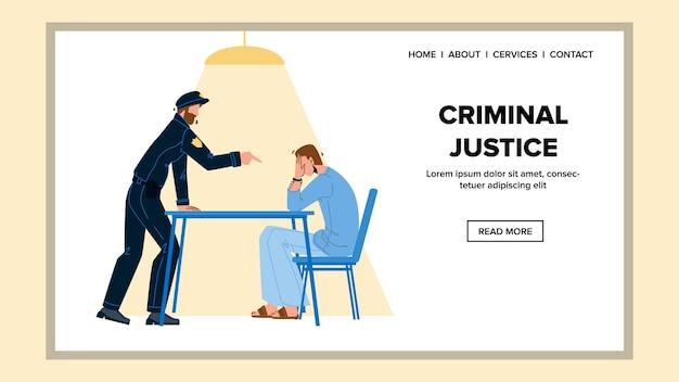 Justice pénale dans la salle du bureau de la police