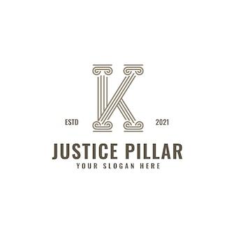 K lettre logo justice et cabinet d'avocats pilier audacieux dessin au trait professionnel