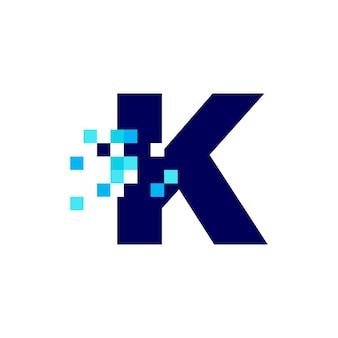 K lettre pixel mark digital 8 bit logo vector icon illustration