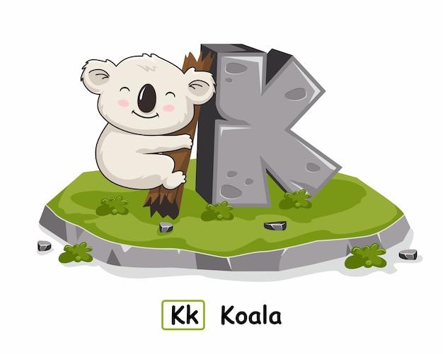 K pour koala animals alphabet rock stone