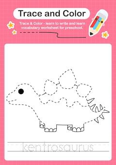 K traçage du mot pour les dinosaures et coloriage de la feuille de calcul avec le mot kentrosaurus