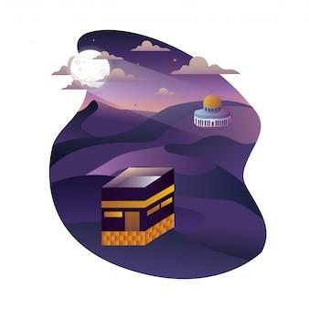 Kaaba 3d abstrait avec éclipse de lune sur le désert de la nuit