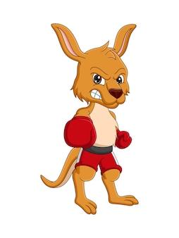 Kangourou de dessin animé avec des gants de boxe