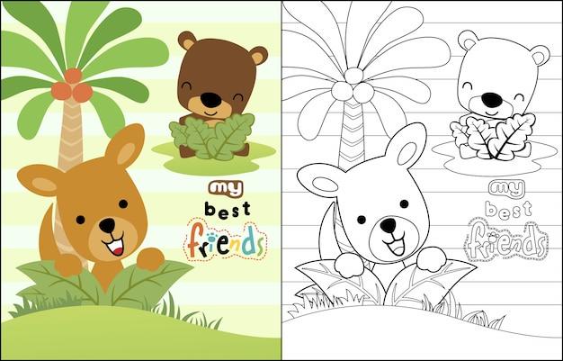 Kangourou avec dessin animé petit ours