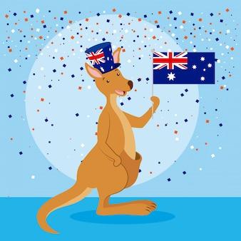 Kangourou avec le drapeau de l'australie et des confettis