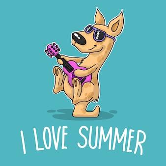 Kangourou jouant de la guitare et disant que j'aime l'été