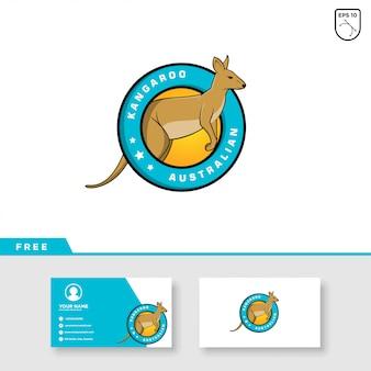 Kangourou logo design et modèle de carte de visite