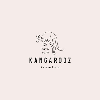 Kangourou logo vector icon illustration ligne contour monoline