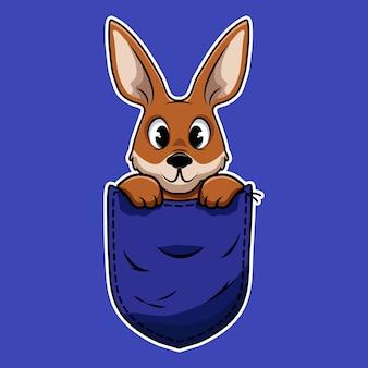 Kangourou mignon de bande dessinée dans une poche