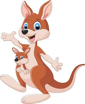 Kangourou mignon dessin animé, agitant la main avec bébé joey