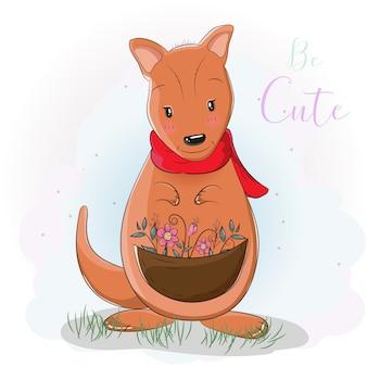 Kangourou mignon dessin animé avec fleur