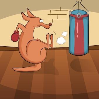 Kangourou mignon engagé dans les sports actifs.
