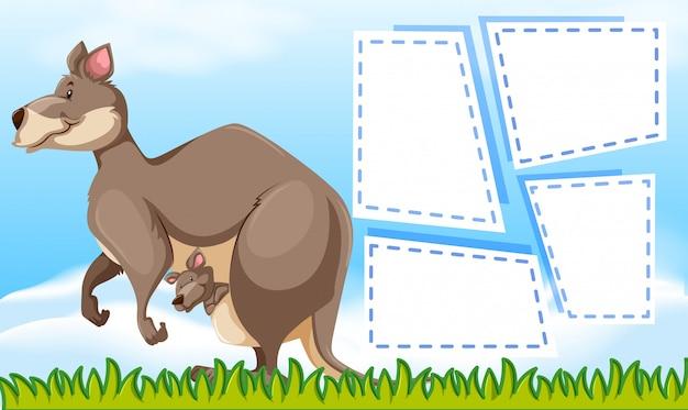 Un kangourou sur un modèle de note