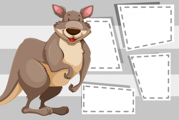 Kangourou sur les notes vierges