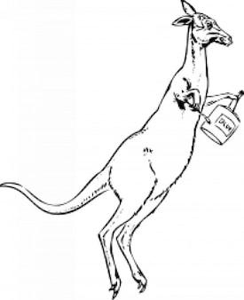 Kangourou avec un pinceau et de peinture peuvent