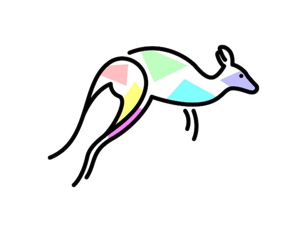 Kangourou de vecteur dans le style de formes de remplissage