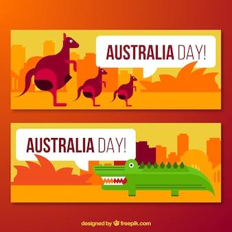 Kangourous et cocodrile bannières géométriques australia day