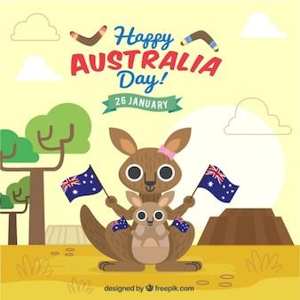 Kangourous avec des drapeaux pour jour de l'australie