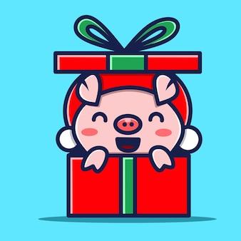 Karakter babi di dalam kado natal