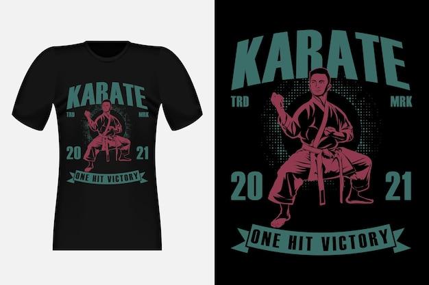 Karaté one hit victory silhouette design t-shirt vintage