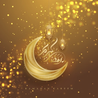 Kareem du ramadan doré avec calligraphie arabe, lanternes et lune.