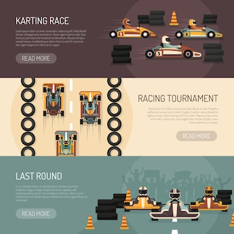 Karting motor race bannières