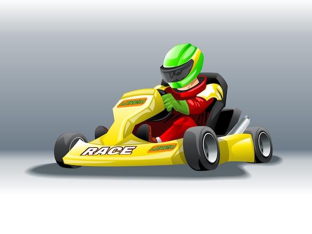 Karting avec un pilote à grande vitesse.