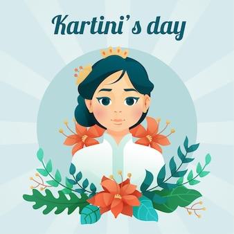 Kartini courageuse héros féminin avec des fleurs