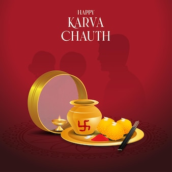 Karva chauth pooja thali vecteur